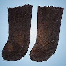 Antique Handmade Black Ribbed Cotton Doll Socks