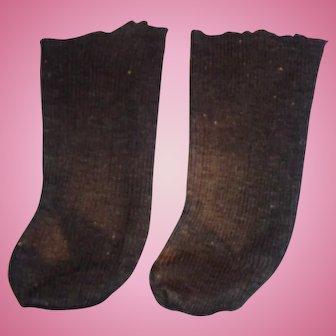 Antique Handmade Black Ribbed Cotton Doll Socks