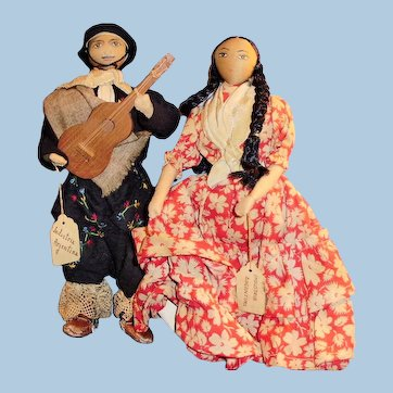 International Dolls Tagged Industria Argentina All Cloth Hand Painted Face Pair