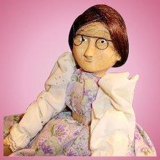 Vintage Hand Carved Wood Artist Doll Signed Huff