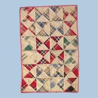 Antique Plaid Triangle Cotton Tie Doll Quilt