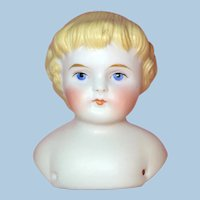 Antique German Tinted Molded Bisque Blonde 1000 Doll Head