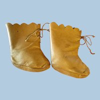 Antique Brown Leather Tie Doll Boots