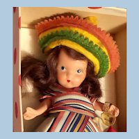 NASB Bisque Jtd Leg Mexican Doll MIB