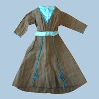 Antique Blue And Brown Wool Doll Dress