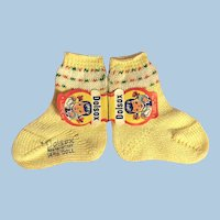 Vintage Yellow Cotton Doll Socks