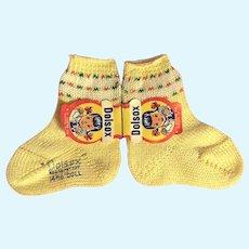Vintage Yellow Cotton Doll Socks