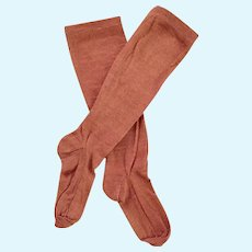 Long Antique Chocolate Brown Doll Stockings