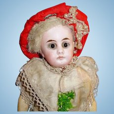 Antique 8 Inch German Belton Closed Mouth Bisque Head Doll in Original Outfit