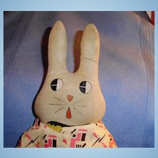 All Cloth Dressed White Rabbit Doll With Hand Painted Heart Nose