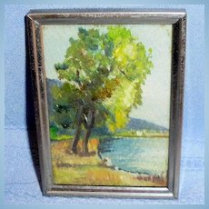 1950 Dollhouse size Water Cove Oil Painting by Elsie G. Lewis