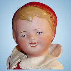 German Bisque Head Character Boy Doll in Molded Hat