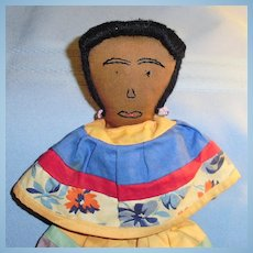 Old Vintage Cloth Seminole Rag Doll with Embroidered Face