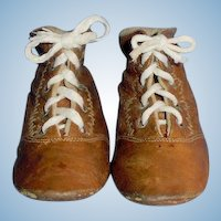Antique 4 Inch Long Brown Leather Lace Up Doll Boots