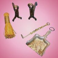 Antique Fireplace Dollhouse Lot Andirons Broom Dustpan Accessories