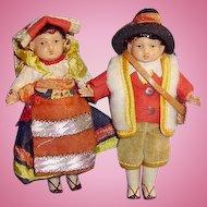 Old Molded Hair Celluloid Dollhouse Foreign Dolls