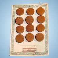 Set of 12 Brown Silk Buttons For Dolls Clothes on Original Card