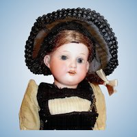 "12"" Antique German AM 390 Bisque Head Doll All Original"