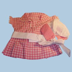 Cute Pink and White Gingham Two Piece Doll Dress and Bonnet