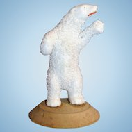 Antique All Bisque Standing Polar Bear Snow baby