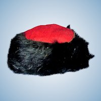 1800s Handmade Red and Black Winter Doll Hat