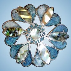 Vintage Taxco Mexico 925 Sterling Mosaic Brooch Jewelry