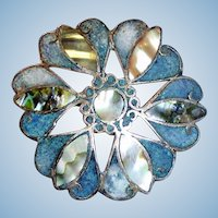Vintage Taxco Mexico 925 Sterling Silver Mosaic Brooch