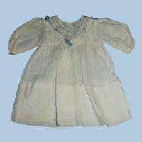 1900 Factory Made Lace with Blue Ribbon Doll Dress