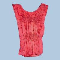 1800s Dark Pink Silk French Dress Fashion Front Insert