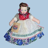 Vintage Mollye Russia Cloth Doll with Hang Tag