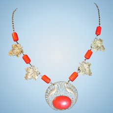 Vintage Metal Filigree Bird with Leaf and Red Glass Necklace
