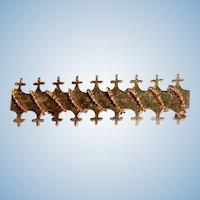 Gold Filled Edwardian Cross Motif Large Bar Pin