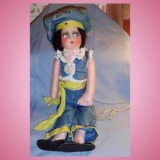 1927 Black Bottom Vamp Boudoir All Cloth Bed Doll