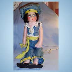 1927 Black Bottom Vamp Boudoir All Cloth Bed Doll