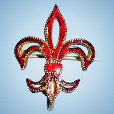 Antique Red Enamel Fleur De Lis Watch Pin