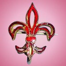 Antique Red Enamel Fleur De Lis Watch Pin