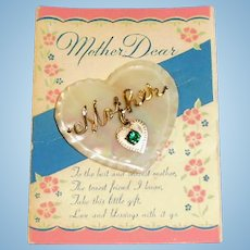 Vintage Script Mother Dear Heart Shape MOP Pin on Card