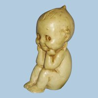 Antique 1913 Chalkware Rose O'Neill Sitting Kewpie Doll