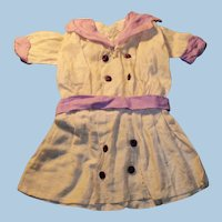 1900 Factory Lavender and White Cotton German Doll Dress