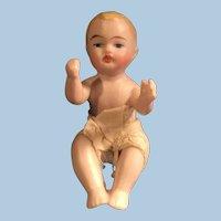 3 inch German All Bisque Sitting Child Doll Figure