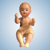 3 inch German All Bisque Sitting Child Doll Figure