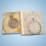 Antique Silver Metal Doll Watch in Noveautes De Paris Box