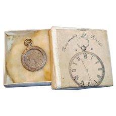 Antique Silver Metal Doll Watch in Noveautes De Paris Box