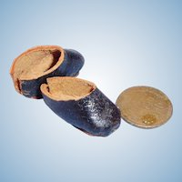 Tiny Vintage Leather Doll Shoes