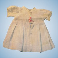 Antique Bruckner Blue Cotton and Lace Doll Dress