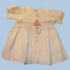 Antique Bruckner Blue Cotton and Lace Doll Dress