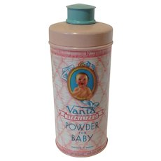 Vintage VANTA Baby Powder Talc Tin - Red Tag Sale Item