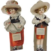 Pair of 1920 Die Cut Children Stand Up Calendar Christmas Cards