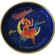 Vintage Miller High Life Beer Serving Tray Maid on the Moon