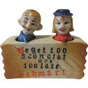 Vintage Nodder Salt and Pepper Shakers 4 Eyed German Couple